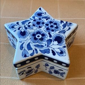 Other - Blue & White Handpainted Ceramic Box
